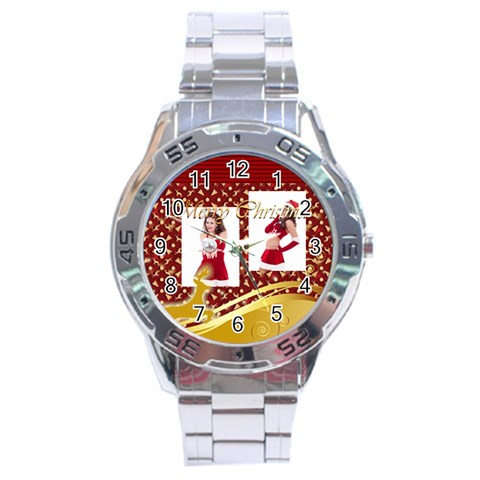 Merry Christmas By Clince   Stainless Steel Analogue Watch   Ppaaltd6szdl   Www Artscow Com Front