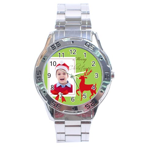 Merry Christmas By Clince   Stainless Steel Analogue Watch   052870s0zj52   Www Artscow Com Front