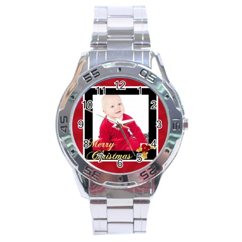 Merry Christmas By Clince   Stainless Steel Analogue Watch   Ewcs3tvdvsc7   Www Artscow Com Front