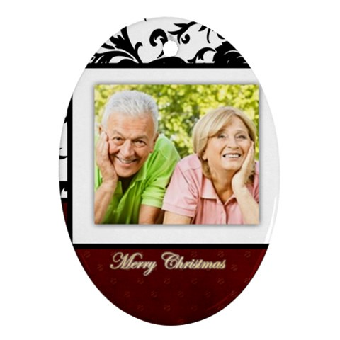 Merry Christmas, Happy New Year By May   Ornament (oval)   Z2g5k9e9ijd6   Www Artscow Com Front