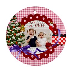 Xmas By Joely   Round Ornament (two Sides)   T6smi28guxox   Www Artscow Com Front