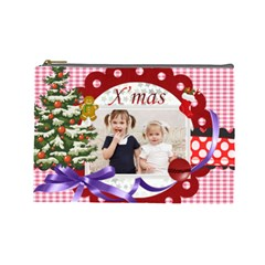 Merry Christmas By Joely   Cosmetic Bag (large)   H3zab37c3lba   Www Artscow Com Front