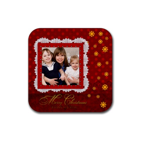 Merry Christmas By Joely   Rubber Coaster (square)   7ma3d3x21wru   Www Artscow Com Front