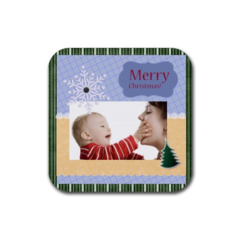 Merry Christmas By Joely   Rubber Coaster (square)   Hnot83vvhjqk   Www Artscow Com Front