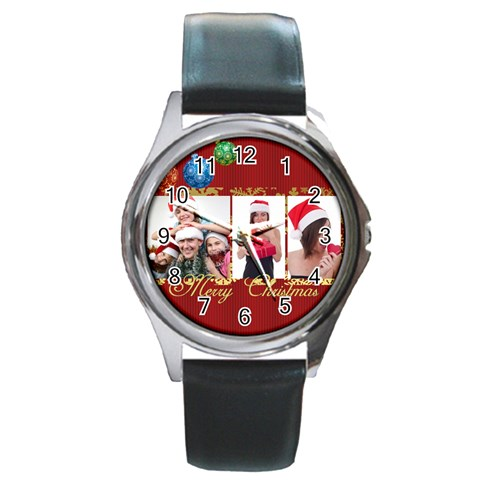 Merry Christmas By M Jan   Round Metal Watch   30awsgmkap6e   Www Artscow Com Front