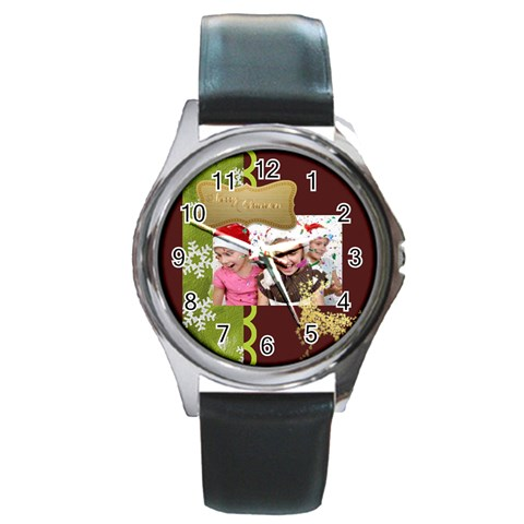 Merry Christmas By M Jan   Round Metal Watch   Owkn2wx89wzv   Www Artscow Com Front