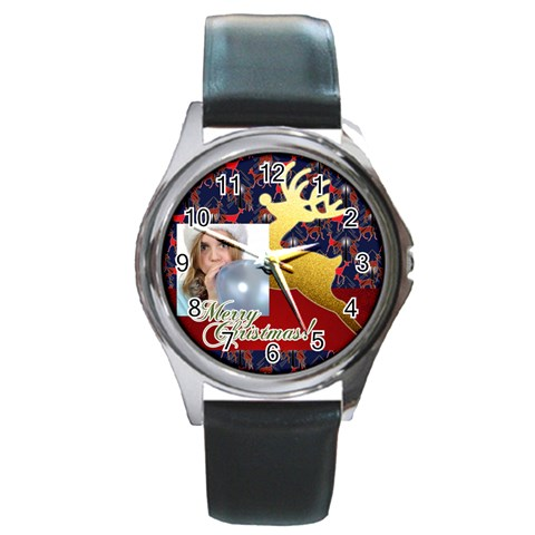 Merry Christmas By M Jan   Round Metal Watch   Zazic2c2p1zp   Www Artscow Com Front
