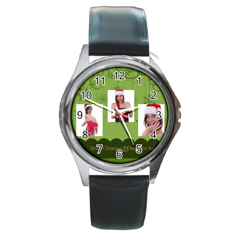 Merry Christmas By M Jan   Round Metal Watch   3gpz59c7r346   Www Artscow Com Front