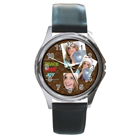Merry Christmas By M Jan   Round Metal Watch   6g6l2rp9e0bv   Www Artscow Com Front