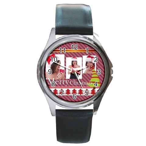 Merry Christmas By M Jan   Round Metal Watch   Glsdluaw5zh4   Www Artscow Com Front
