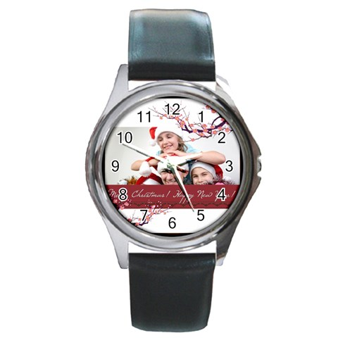 Merry Christmas By M Jan   Round Metal Watch   Q9d391w3y38k   Www Artscow Com Front