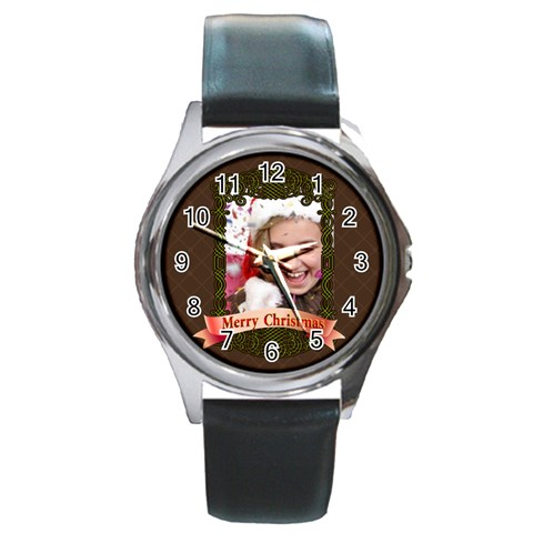 Merry Christmas By M Jan   Round Metal Watch   9er3f94sz08k   Www Artscow Com Front