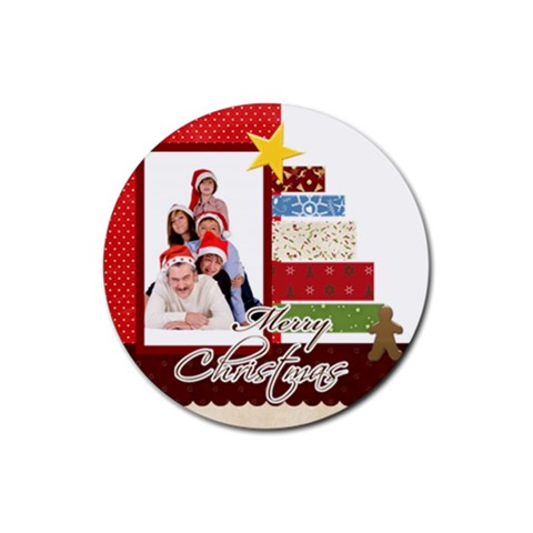 Merry Christmas By Betty   Rubber Coaster (round)   Fn2zd8ks4flq   Www Artscow Com Front