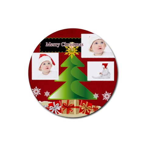 Merry Christmas By Betty   Rubber Coaster (round)   2mg684pq5yh2   Www Artscow Com Front