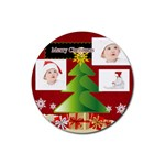 merry christmas - Rubber Coaster (Round)