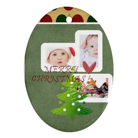 Merry Christmas By Betty   Ornament (oval)   Htn0h1wgwfb2   Www Artscow Com Front