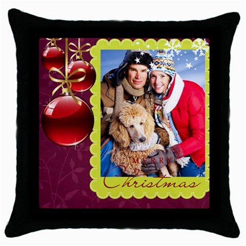 Merry Christmas By Angena Jolin   Throw Pillow Case (black)   6clt2m2kwclu   Www Artscow Com Front