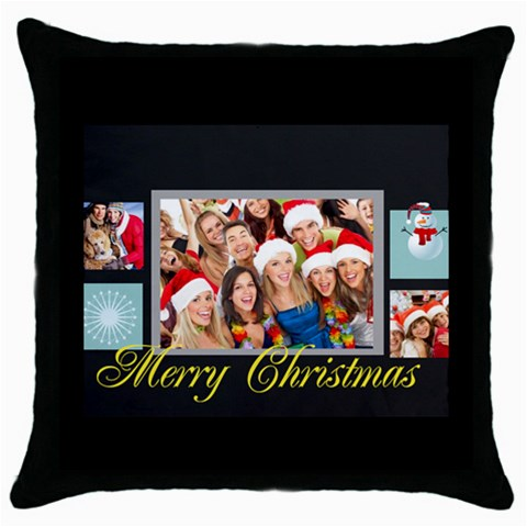 Merry Christmas By Angena Jolin   Throw Pillow Case (black)   Kjdehpas9q8j   Www Artscow Com Front