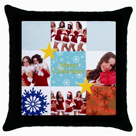 Merry Christmas By Angena Jolin   Throw Pillow Case (black)   X0gk3mq44539   Www Artscow Com Front