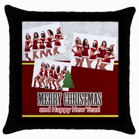 Merry Christmas By Angena Jolin   Throw Pillow Case (black)   I5kc703g17ue   Www Artscow Com Front