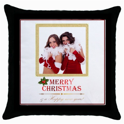 Merry Christmas By Angena Jolin   Throw Pillow Case (black)   Njd3u5gmx84p   Www Artscow Com Front