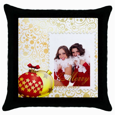 Merry Christmas By Angena Jolin   Throw Pillow Case (black)   Bs64psah7s0o   Www Artscow Com Front