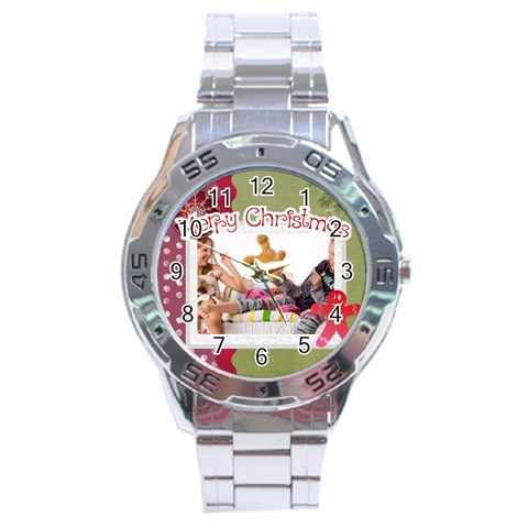 Merry Christmas By Betty   Stainless Steel Analogue Watch   M5hsxawxkfjw   Www Artscow Com Front