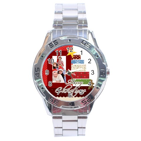 Merry Christmas By Betty   Stainless Steel Analogue Watch   1k8dueymwnl7   Www Artscow Com Front