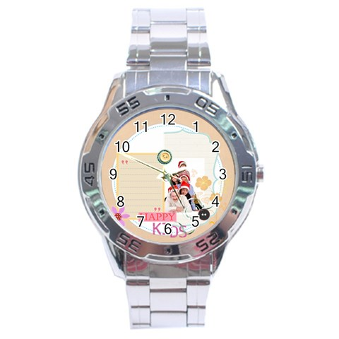 Merry Christmas By Betty   Stainless Steel Analogue Watch   W537kzwbanbl   Www Artscow Com Front