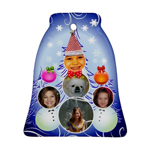 Snowman Family Bell Ornament By Kim Blair   Ornament (bell)   Iflveg0xt9f7   Www Artscow Com Front