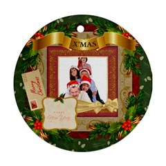 Merry Christmas By Betty   Round Ornament (two Sides)   1ty5x0gv6oe1   Www Artscow Com Front