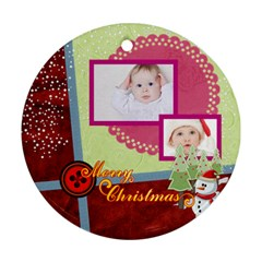 Merry Christmas By Betty   Round Ornament (two Sides)   X4gydd7p5bdx   Www Artscow Com Front