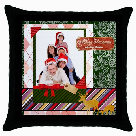 Merry Christmas By Betty   Throw Pillow Case (black)   Ia78f6ovyxp6   Www Artscow Com Front