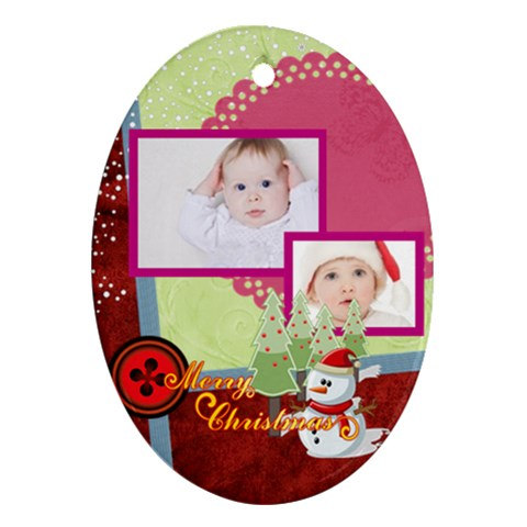 Merry Christmas By Betty   Ornament (oval)   Cxzr87j9ri5i   Www Artscow Com Front