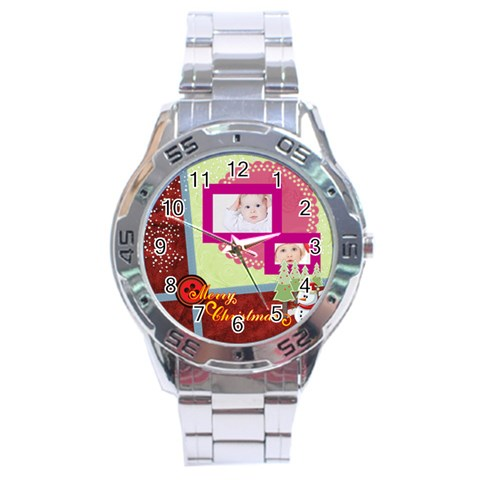 Merry Christmas By Betty   Stainless Steel Analogue Watch   Jqce8napjmuu   Www Artscow Com Front