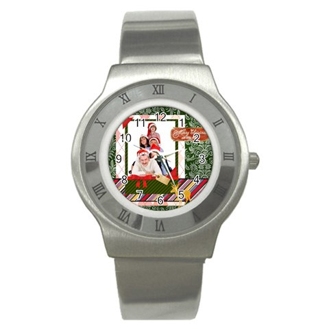 Merry Christmas By Betty   Stainless Steel Watch   Lnexr1c39xgy   Www Artscow Com Front