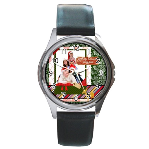 Merry Christmas By Betty   Round Metal Watch   Yukpz1uhybtj   Www Artscow Com Front