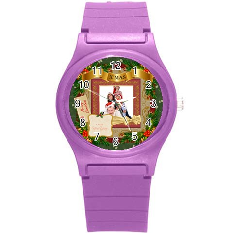 Merry Christmas By Betty   Round Plastic Sport Watch (s)   Hfuipyyh633e   Www Artscow Com Front