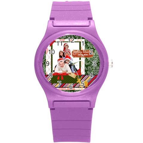 Merry Christmas By Betty   Round Plastic Sport Watch (s)   Kg5ot2vclmy8   Www Artscow Com Front
