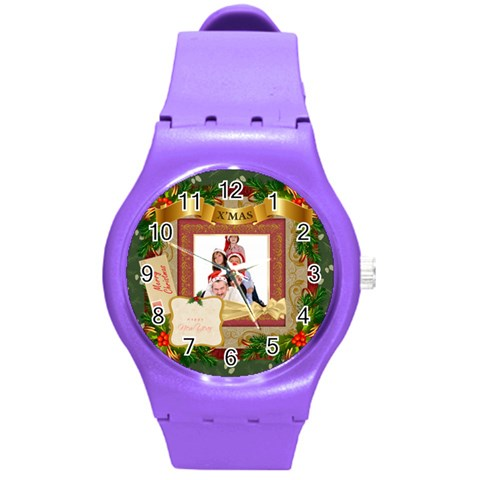 Merry Christmas By Betty   Round Plastic Sport Watch (m)   D7z9n048ef82   Www Artscow Com Front