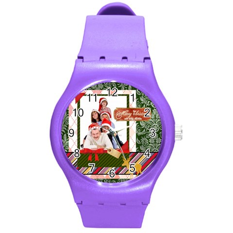 Merry Christmas By Betty   Round Plastic Sport Watch (m)   Vu3juomrtk64   Www Artscow Com Front