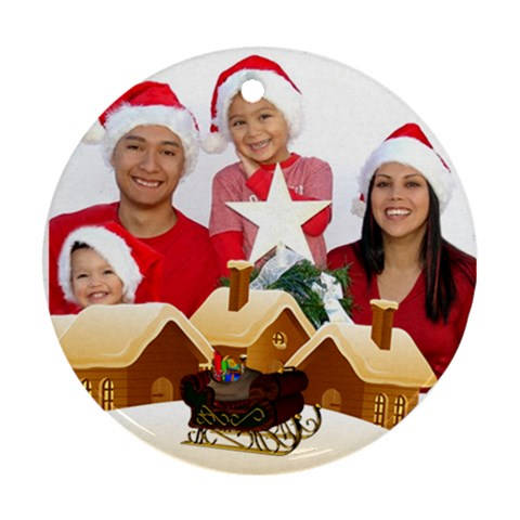 Christmas Family Round Ornament By Deborah   Ornament (round)   Wj4n45qplzkb   Www Artscow Com Front