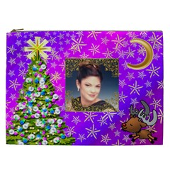 Purple Varigated Starry Christmas Cosmetic Bag (xxl) By Kim Blair   Cosmetic Bag (xxl)   92q53saqm90v   Www Artscow Com Front