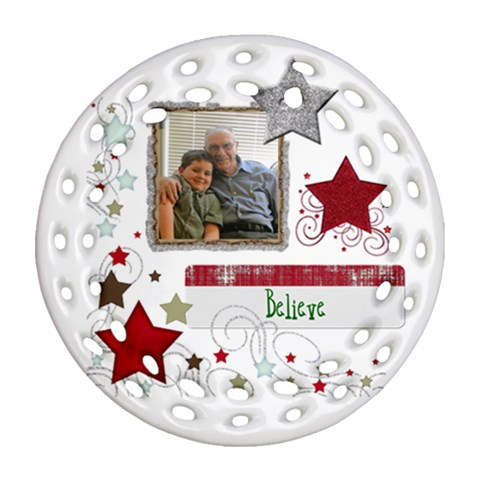 Believe Filigree Ornament By Wendy   Ornament (round Filigree)   M4v4ttd9eb51   Www Artscow Com Front