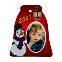 Snowman 2018 Bell Ornament (2 Sided) By Deborah   Bell Ornament (two Sides)   89u8104py06t   Www Artscow Com Front
