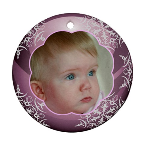 Pink Christmas Ball Ornament Round By Deborah   Ornament (round)   07fjmg8movl9   Www Artscow Com Front
