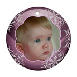 Pink Ball Round Christmas Ornament (2 sided) - Round Ornament (Two Sides)