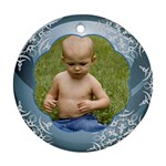 Blue Christmas Ball Ornament round - Ornament (Round)