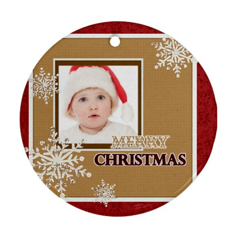 Merry Christmas By Betty   Ornament (round)   Nd9jeia9rpjy   Www Artscow Com Front