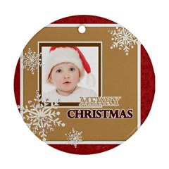 Merry Christmas By Betty   Round Ornament (two Sides)   Qcdpixvkrtj8   Www Artscow Com Back